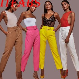 Wholesale ol pants resale online – New Fashion Women Fashion Pants Solid Bright Pants Lady OL Loose Pants Summer High Waist Trousers Belt