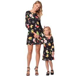 $enCountryForm.capitalKeyWord Australia - Winter Long Sleeve Christmas Animal Print Woman Mom and Daughter Me T-shirts Dress New Year Family Matching Outfits Girl Child