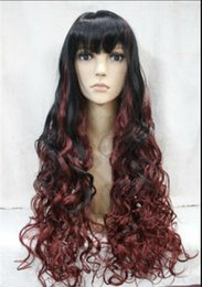 Wigs Mixed Black Burgundy Australia - WIGFREE SHIPPING Hot heat resistant Party hair>>>>>Excellent Black + Burgundy Mixed Long Curly Spike Women Ladies wig