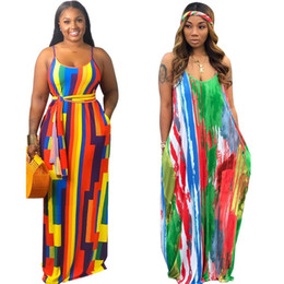 colorful summer maxi dresses Australia - Colorful Loose Sexy Tie Dye Maxi Dress Women Spaghetti Strap Dresses Summer Fashion 2019 Floor Length Dresses Streetwear