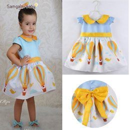Wholesale Baby Girls Princess Dress Kids Yellow Collar Bow Baby Party Wedding Pageant Tulle Tutu Blue Hot Air Balloon Summer Dresses T