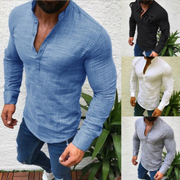 stylish t shirts designs 2019 - New Men Henley Shirt 2018 new Tee Tops Long Sleeve Stylish Slim Fit T-shirt Button placket Casual men Outwears Popular D