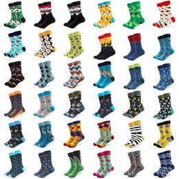 White colored Wedding dresses online shopping - 1 pair men socks combed cotton bright colored funny socks men s calf crew for business causal dress wedding gift