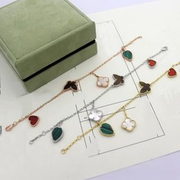mothers charm chain Australia - Fashion Lady Women Brass Four Motifs Mother of Pearl Carnelian Tiger-eye Malachite 18K Gold Chain Bracelets With Different Styles Charm