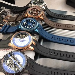 44mm watches 2019 - 44mm automatic turbine Poker dial unique cool men watch mechanical wristwatch high quality rubber strap PERRELET cheap 4