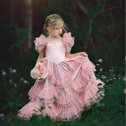 Purple Tutu For Little Girl Australia - Blush Tutu Ruffles Flower Girl Dresses For Weddings Pink Little Girls Pageant Dress Saquare Neck Tulle Chiffon First Communion Dresses