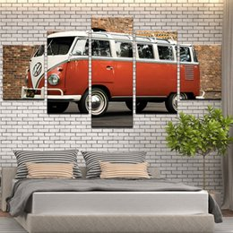 Bus Painting Australia - Modern home wall art deco picture HD print 5 pieces Volkswagen bus car painting on canvas poster