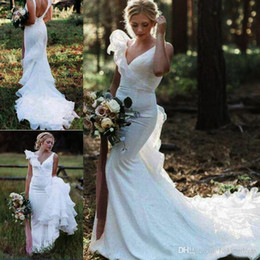 $enCountryForm.capitalKeyWord NZ - Plus Size Fairy Country Mermaid Wedding Dresses Long 2019 Sexy Backless Ruffle Strap Deep V Neck Beach Boho Bridal Gowns Fish Tail Cheap