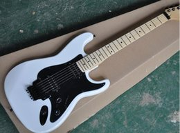floyd rose guitar body UK - free shipping Factory custom White body Electric Guitar with black Pickguard,Floyd rose,4pickups, can be changed