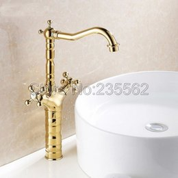 Faucet Kitchen Shower Australia - Luxury High Style Dual Handle Swivel Bathroom Basin Faucet Golden Brass Finish Cold and Hot Mixer Kitchen Sink Taps lsf94