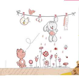 Wall Stickers For Classrooms Australia - HOT! Cute Pink Cartoon Rabbit Bear Wall Sticker For Baby Girls Kids Rooms Home Decor Teddy Bear Umbrella Classroom Wall Decals