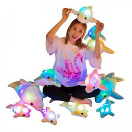 Kids Dolphin Toys Australia - 35cm Luminous Plush Dolphin dog Doll cartoon Plush Toys LED Light Animal Valentine's Day kids Gift home decor Novelty Items FFA1466