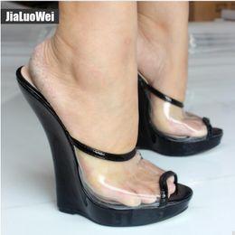 d5341c9ebf2e9e Women Sandals Wedges Fashion Sexy Transparent 18cm High Heels Wedge Platform  Pumps Peep Toe Slip-On Summer Shoes for Man Stage show slides