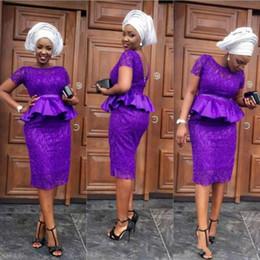 PePlum dresses online shopping - Beautiful Sheath Short Evening Dresses Short Sleeve Peplum Lace Party Formal Long Prom Dresses Custom Robe De Soiree Pageant Gowns