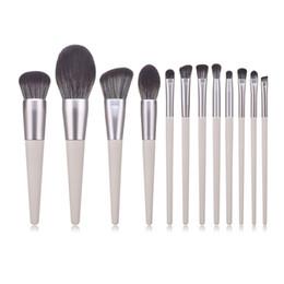$enCountryForm.capitalKeyWord Australia - High Quality Grey 12pcs Makeup Brushes Kit Pro Cosmetics New Make Up Blush Brush Set Wood Handle Nylon Fiber