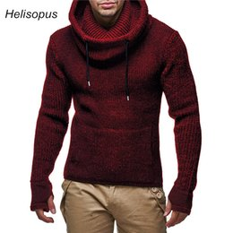 Knitted Gloves Men Australia - Men Biker Turtleneck Sweaters With Gloves 2019 Spring Autumn Slim Knitted Warm Pullover Sweaters