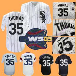 35e40b44c Frank Thomas Jersey 2005 World Series Patch All Stitched Home Away Chicago  Baseball Jerseys White Pinstripe Black Mesh BP