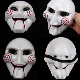 Wholesale funny puppets online – design 2019 Halloween Party Mask Intresting Cosplay Billy Jigsaw Saw Puppet Mask Masquerade Costume Prop Creative DIY Party Masks Funny