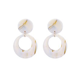$enCountryForm.capitalKeyWord UK - South Korea HKorean Simple Round-shaped Hollow Earrings Female Fashionable Elegant Marble Ear Nails