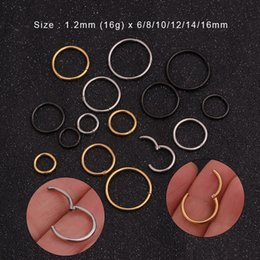 nose clicker 2019 - Sellsets 1PC 6mm to 16mm 16g Stainless Steel Hinged Segment Clicker Ring Hoop Nose Septum Piercing Helix Cartilage Daith