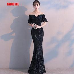 Short Red Lace Prom Vintage Dress Australia - Fadistee New Arrival Elegant Party Dresses Evening Dress Vestido De Festa Luxury Black Sequins Short Sleeves Prom Lace Style Y19051401