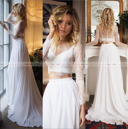Two piece boho wedding dress online shopping - robe de mariee Sheer Long Sleeves A Line Boho Two Pieces Wedding Dresses Illusion Neck Beach Bridal Gowns Custom Made Vestidos De Novia