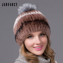 3c87ad9488743 Natural rex rabbit fur Knitted Beanies in Winter Real fox hair pompom  Women s Wide-striped Handmade Hat Ear Protection Mix-color