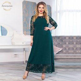 long sleeve maxi dresses Australia - Patchwork Twill Loose Long Dress Maxi Autumn Sizes Women Dress Plus Size Long Sleeve O Neck Winter Dresses Designer Clothes