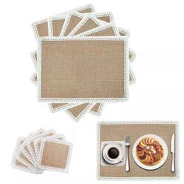 $enCountryForm.capitalKeyWord UK - Hessian Burlap Table Mats Lace Placemats Sets Nature Jute Woven Table Mats Wedding Party Decor 30x22cm