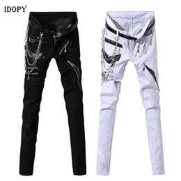 $enCountryForm.capitalKeyWord Australia - Idopy Men Hip Hop Jeans With Chain Patchwork Leather Punk Gothic Party Stage Multi Zippers Night Club Pants For Man