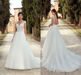 Low back wedding dress bodice online shopping - New Arrival A Line Wedding Dresses Sexy Low Back Cap Sleeves Appliqued Long Tulle Bridal Country Garden Wedding Gowns EK
