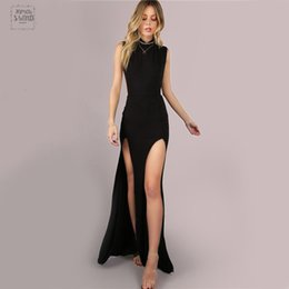 China Black Mesh Maxi Party Dress Sexy Club Double Slit Women Bodycon Summer Dresses Casual Girl High Neck Slim Long Dress cheap double slit dresses suppliers
