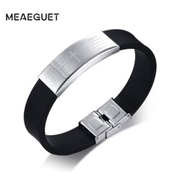 Name Plate Jewelry Sets Australia - ashion Jewelry Bracelets Meaeguet Engrave Personalized Cross Bible ID Bracelet For Men Silicone Stainless Steel Bangle Name Jewelry 16mm ...