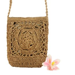 Crochet Handbags Wholesale Australia - TFTP-Women Cute Crochet Sling Beach Summer Purse Straw Shoulder Handbag