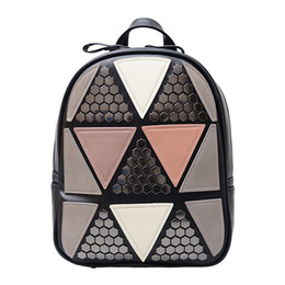 Styles Backpacks Australia - Women Preppy Style Backpack Geometric Patchwork Female School Bags High Quality PU Leather Daypacks for Teenagers Girls
