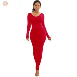 long sleeve maxi dresses Australia - Dresses Long Sleeve Maxi Dress Elastic Women Sexy 2019 New Spring Summer Beach Vestido Elegant Casual Boho Polyester Bodycon Dress