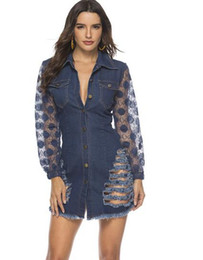 $enCountryForm.capitalKeyWord UK - New spring lace stitching hole tight denim sexy dress