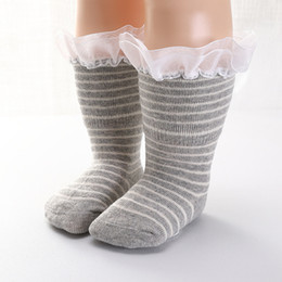 $enCountryForm.capitalKeyWord NZ - New Arrival Sweet Soft Cotton Striped Lace Baby Socks Autumn and Winter New Children's Girls Cuffed Tube Warm Socks 4 Choices