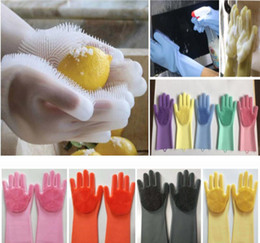 rubber gloves dishwashing 2019 - Magic Cleaning Gloves Silicone Non-slip Dishwashing Gloves Kitchen Bathroom Tools Pet Dog Care Grooming Household Glove