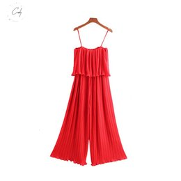 elastic chiffon jumpsuit NZ - Rompers Chiffon Women Chiffon Black Pleated Jumpsuits Elastic Waist Red Ruffles Sleeveless Backless Female Chic Playsuits Ka851