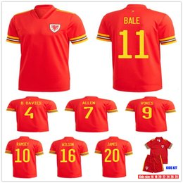 buffalo bills jerseys Canada - Man + Kids 19 20 Wales Soccer Jersey 11 GARETH BALE 10 RAMSEY VOKES ALLEN JAMES WILSON B.DAVIES Customize 2020 Home Red Youth Football Shirt