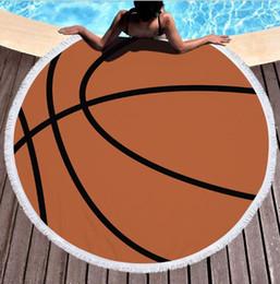 Swim pool family online shopping - 150cm Multi functional outdoor beach towel round basketball football volleyball print design blanket swim pool sleep mat picnic camping pads