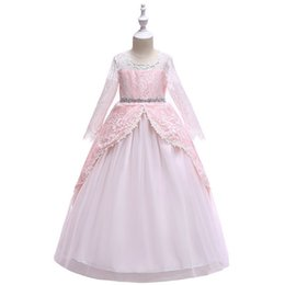 $enCountryForm.capitalKeyWord NZ - Girl Dresses Princess Long Lace Skirt Long Sleeves Tutu Skirt Formal Party Wedding Ball Gown Kid Clothes