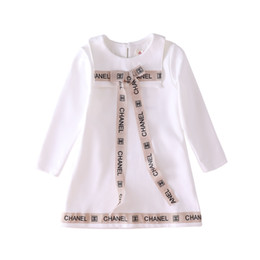 HigH end knee lengtH dresses online shopping - 2019 new children s dress brand letter G dress high end stitching cotton dress birthday party long sleeved shirt autumn baby sweater