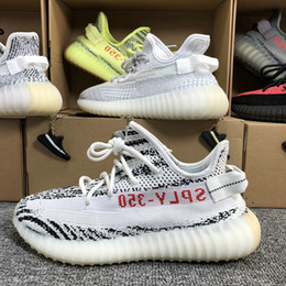 44f4bcffc Kanye West 350 V2 2019 Men Women Running Shoes Beluga 2.0 Semi Frozen Yellow  Static Zebra Cream White Sports Shoes With Box