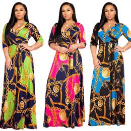 c3d3ffd592a Free Ship 2019 Women Sexy Criss-Cross V-Neck Print Maxi Dress Casual High  Waist Long Dress Plus Size