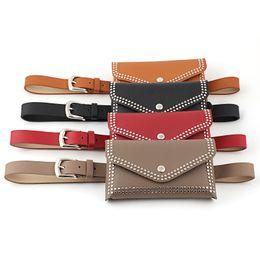EnvElopE packing online shopping - 4styles Rivet Waist Belt Pack punk Fashion PU Leather Women Bags Travel Waist Bag Phone Pouch travel Belt Envelope Fanny Pack FFA2003