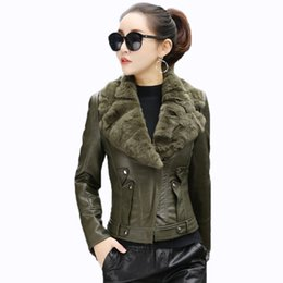 green jacket leather 2019 - short plus velvet leather women's clothing black Slim quilted leather jacket female outerwear 2019 winter new women