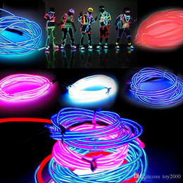 $enCountryForm.capitalKeyWord Australia - 3M Flexible Neon Light Glow EL Wire Rope Tube Flexible Neon Light 8 Colors Car Dance Party Costume+Controller Christmas Holiday Decor Light