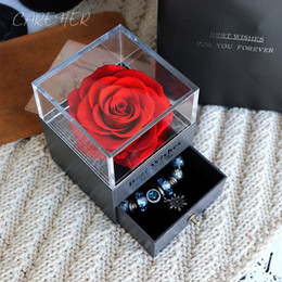 valentines day gift rose Australia - Birthday Presents Valentines Day Gift Women Rose Jewelry For Wedding Marry Dried Flower Real Flowers Eternal Roses In Box Q190522